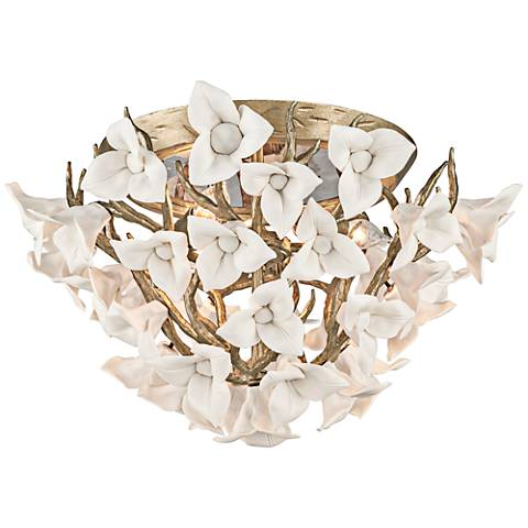 "Corbett Lily 18 1/4"" Wide Silver Leaf Ceiling Light"