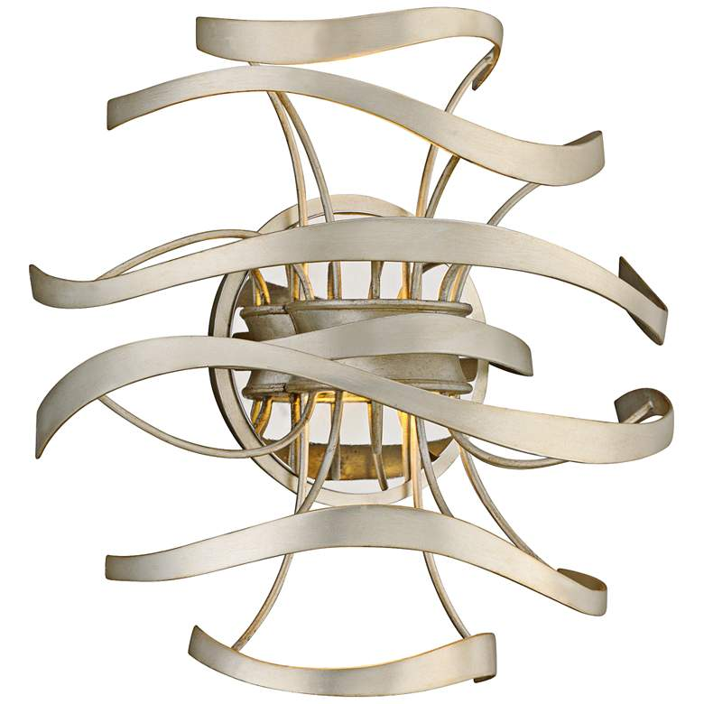 """Corbett Calligraphy 12"""" High Silver Leaf LED Wall Sconce"""