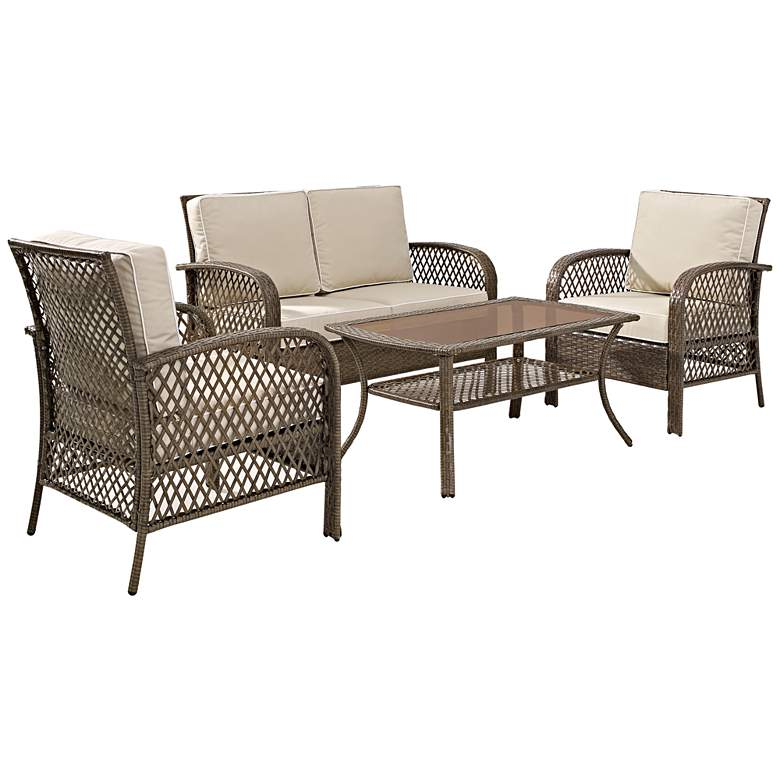 Fulton 4-Piece Outdoor Wicker Seating Set