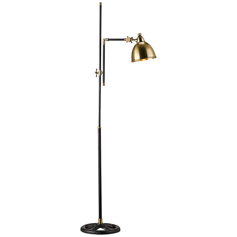 Currey and Company Drayton Brass Adjustable Floor Lamp