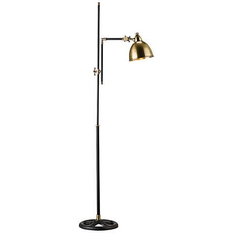 Currey and Company Drayton Brass Adjustable Floor Lamp
