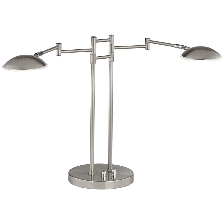 Possini Euro Journey Satin Nickel Swing Arm LED Desk Lamp