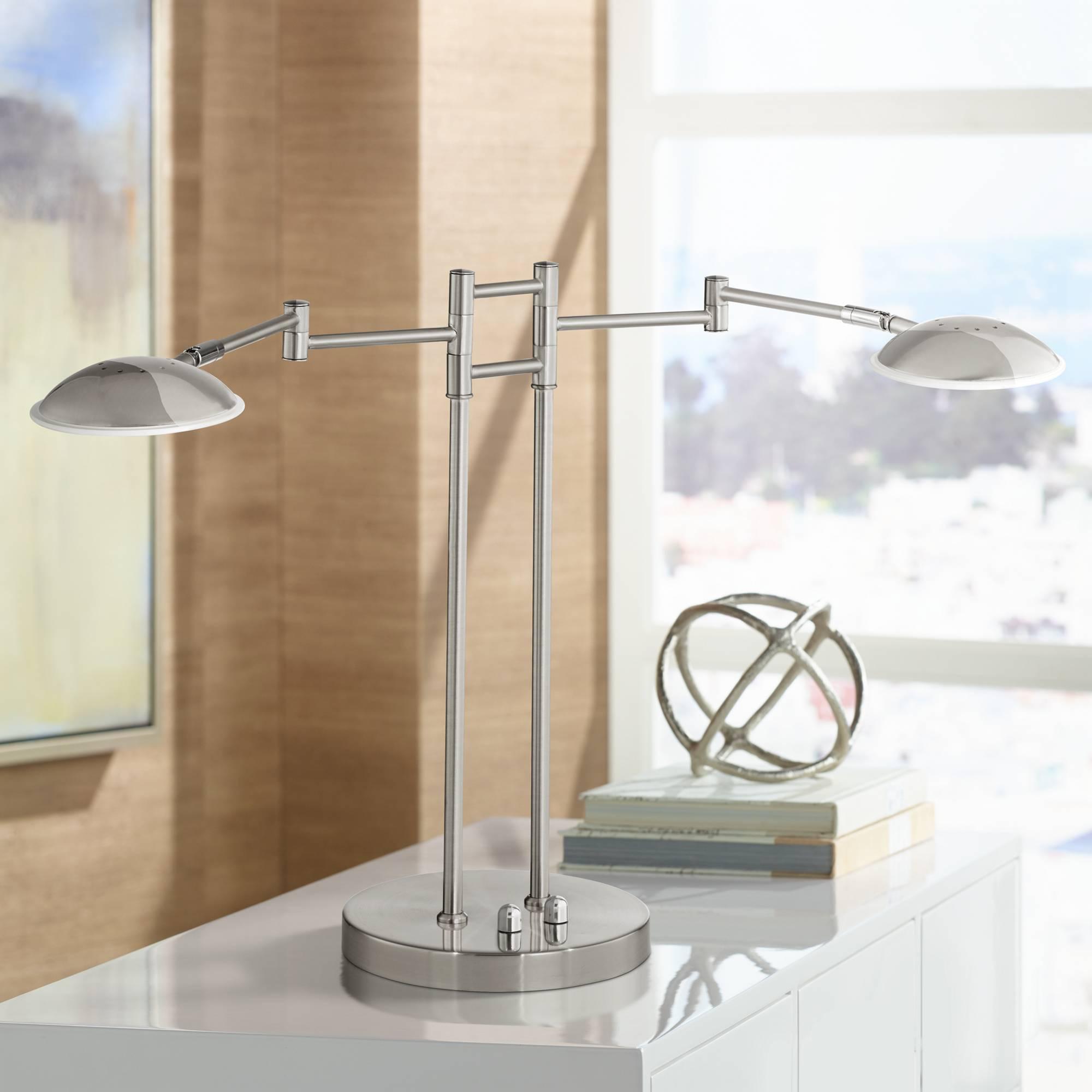 Possini Euro Journey Satin Nickel Swing Arm Led Desk Lamp Ebay