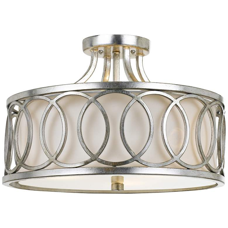 """Crystorama Graham 15"""" Wide Antique Silver Ceiling Light"""