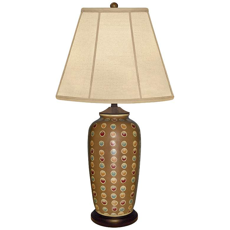 Brookhaven Hand-Painted Mustard Brown Porcelain Table Lamp