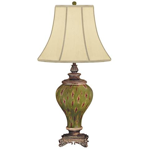 Oak Haven Palace Hand-Painted Green Porcelain Table Lamp
