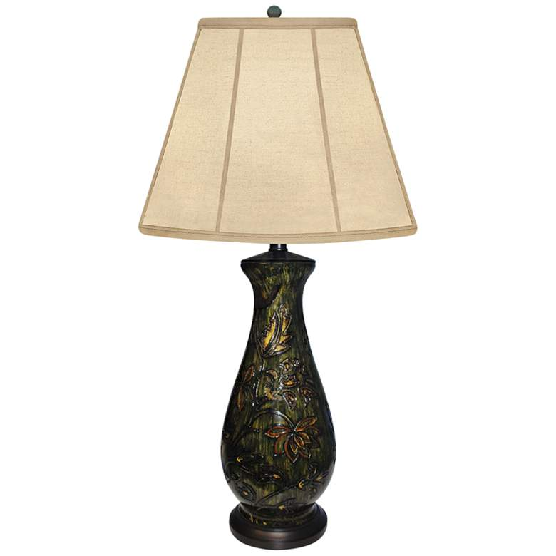 Flowering Webster Hand-Painted Green Porcelain Table Lamp
