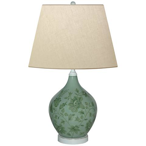 Smoky Olive Leaves Hand-Painted Green Porcelain Table Lamp