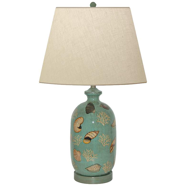 Seafoam Shell Hand-Painted Porcelain Table Lamp
