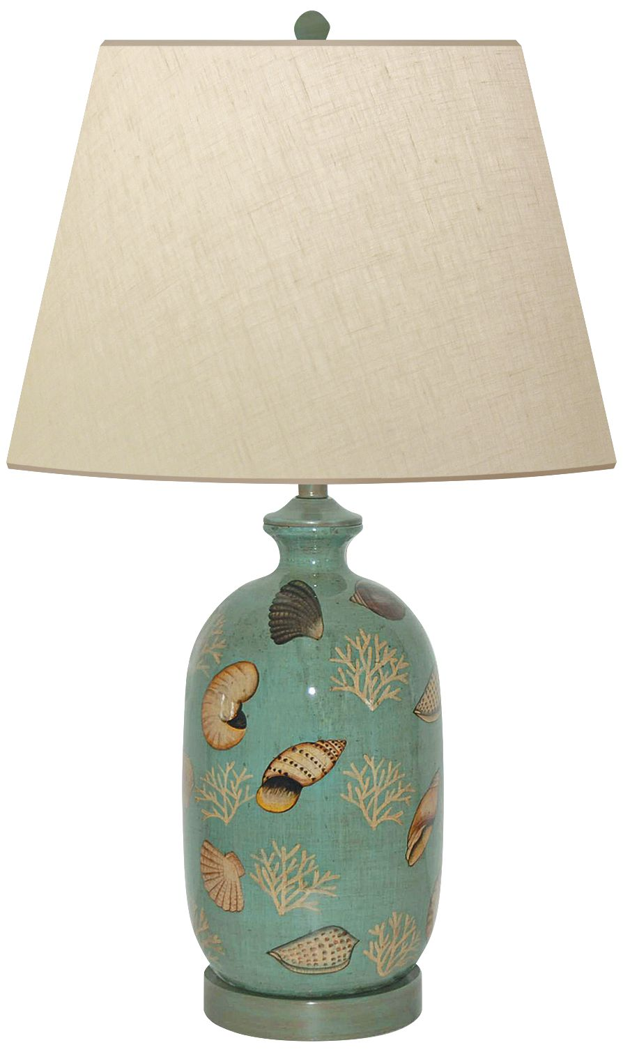 Seafoam Shell Hand Painted Porcelain Table Lamp
