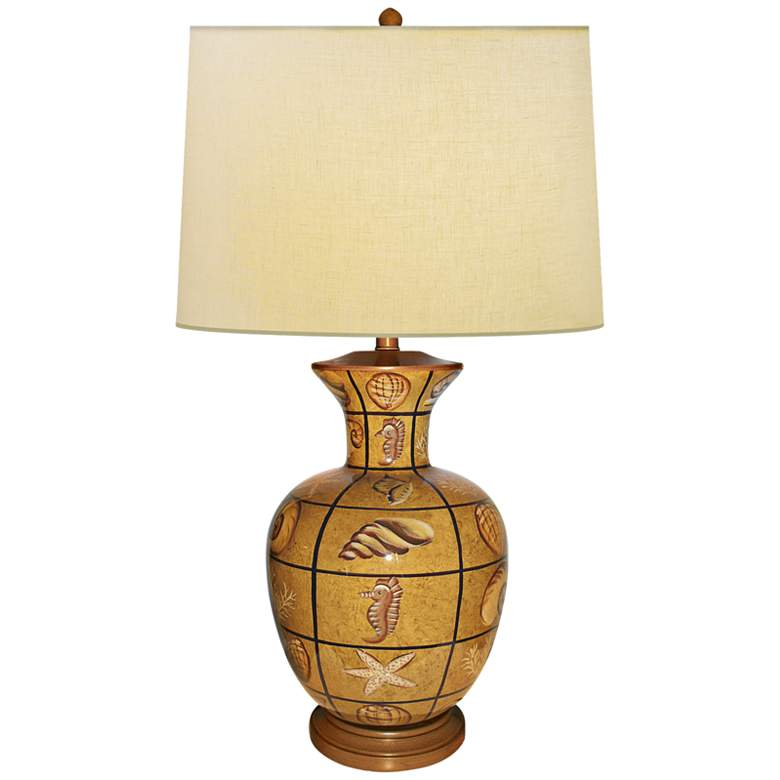 Plaid Multi Shells Hand-Painted Porcelain Table Lamp