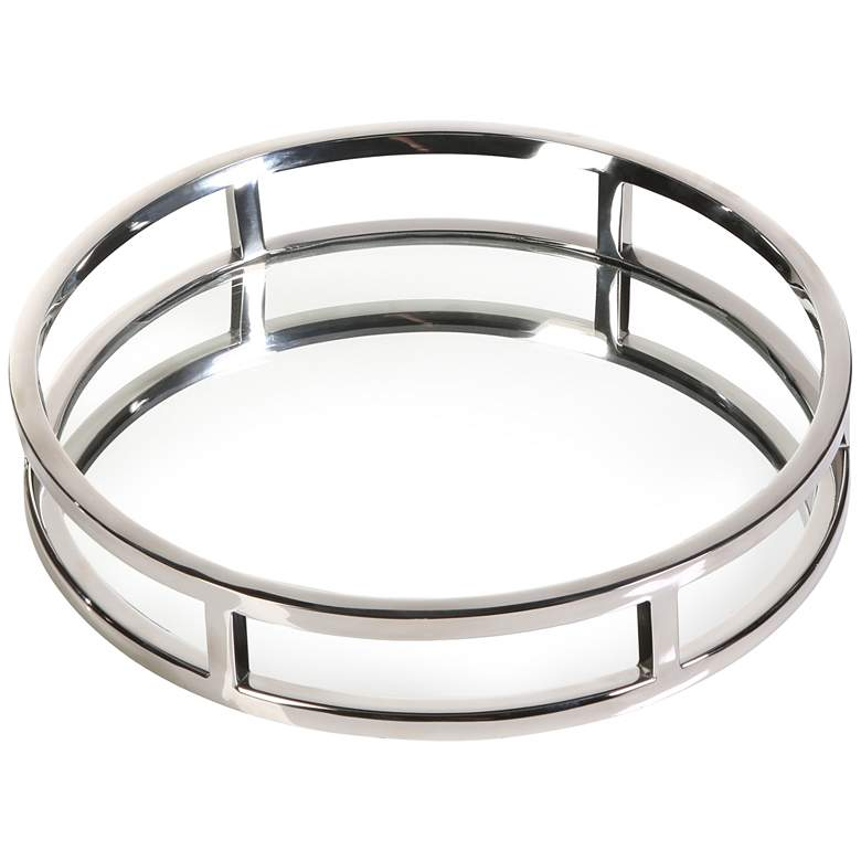 """Clare Polished Nickel 11"""" Round Decorative Mirrored Tray"""