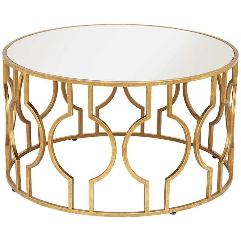 """Fara 35 1/2"""" Wide Gold Leaf Round Coffee Table"""