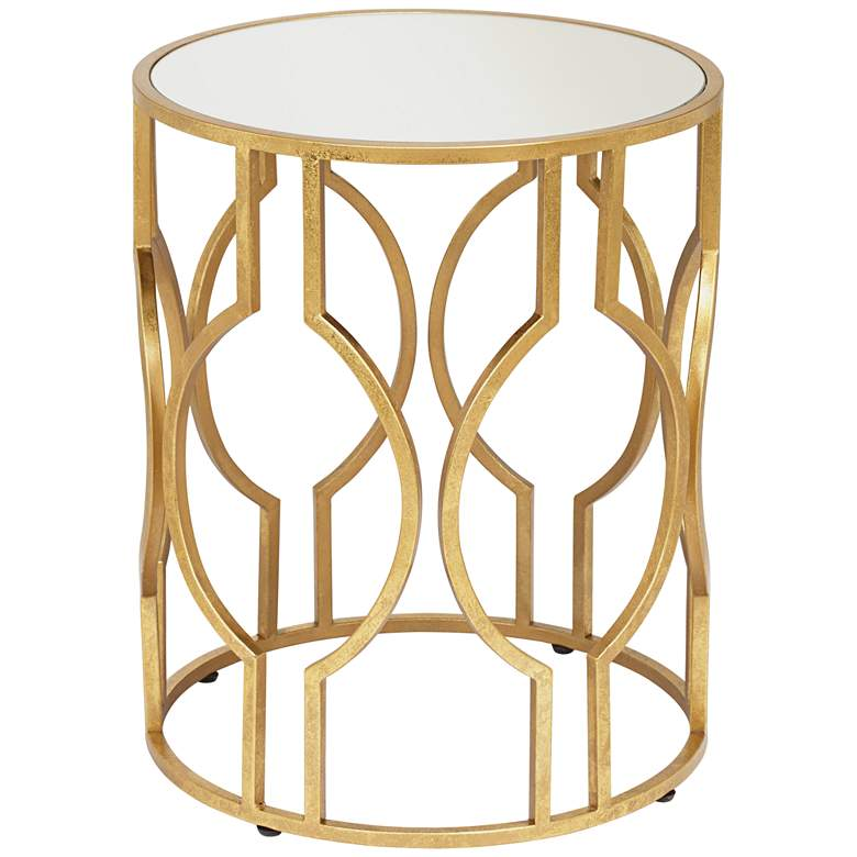 """Fara 20"""" Wide Gold and Mirrored Top Round End Table"""