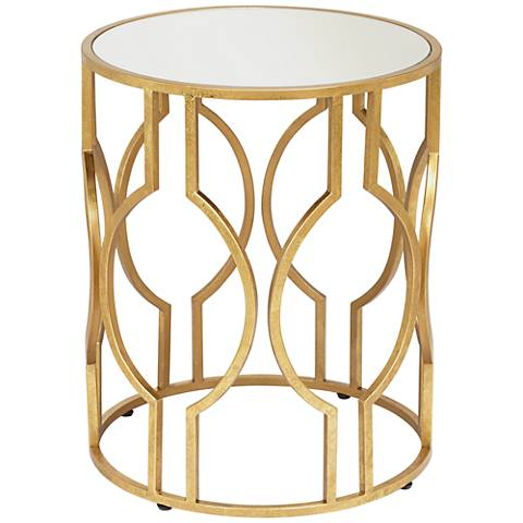 Fara Antique Gold Leaf Round End Table