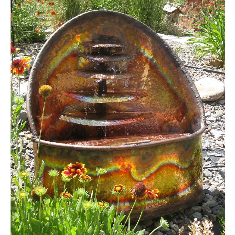 """Watershrine 24"""" High Handcrafted Copper Modern Fountain"""