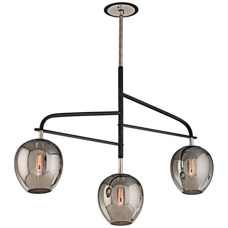 "Odyssey 44""W Black Smoked Glass Kitchen Island Light Pendant"