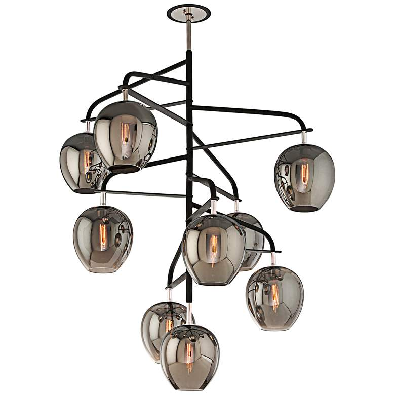 """Odyssey 47"""" Wide Black and Smoked Glass Pendant Light"""