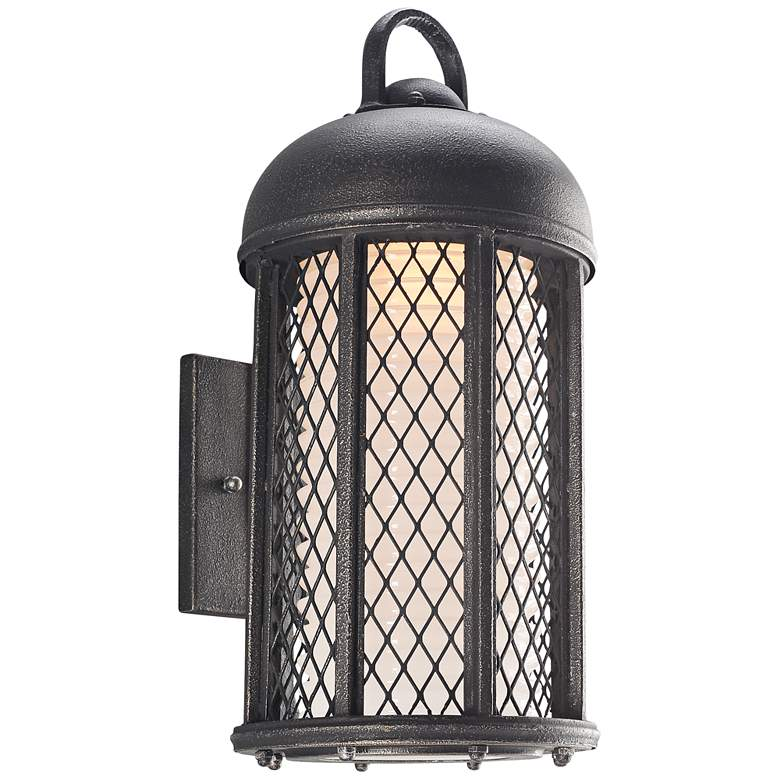 """Signal Hill 17 1/2""""H Aged Silver Outdoor LED Wall Light"""