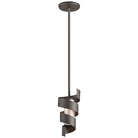 "Vortex 11""H Bronze Outdoor LED Hanging Light"