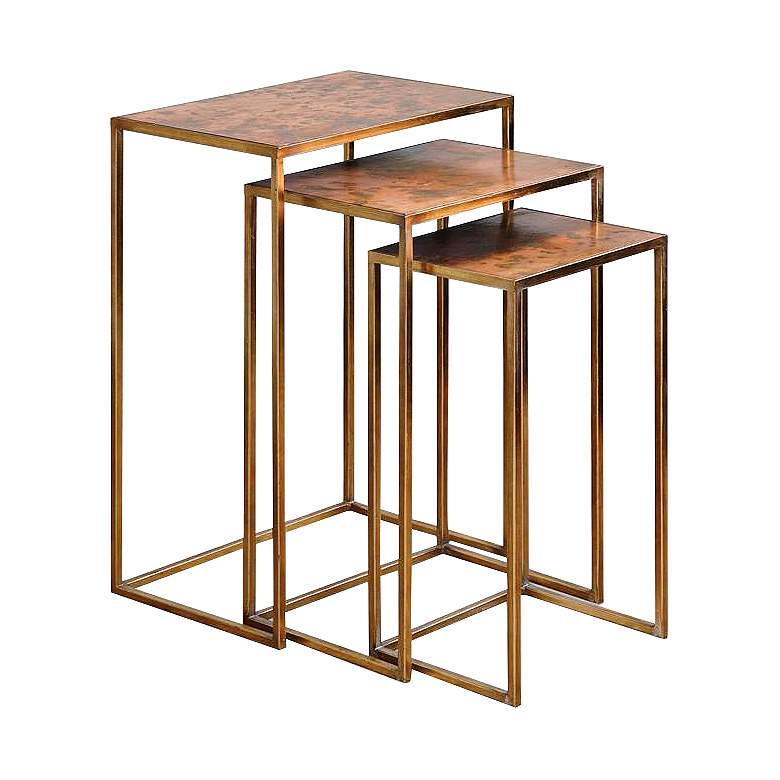 "Copres 18"" Wide Gold Leaf Iron 3-Piece Nesting Table Set"