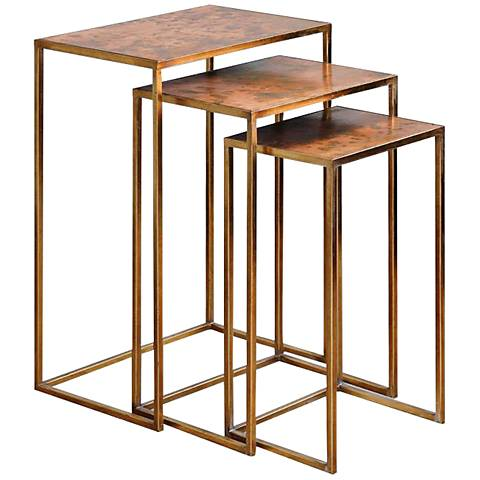 Uttermost Copres Gold Leaf Iron Piece Nesting Table Set X - 3 piece nesting coffee table