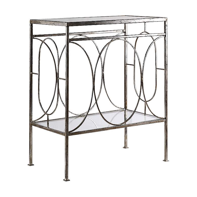 "Luano 24"" Wide Antique Silver and Glass End Table"