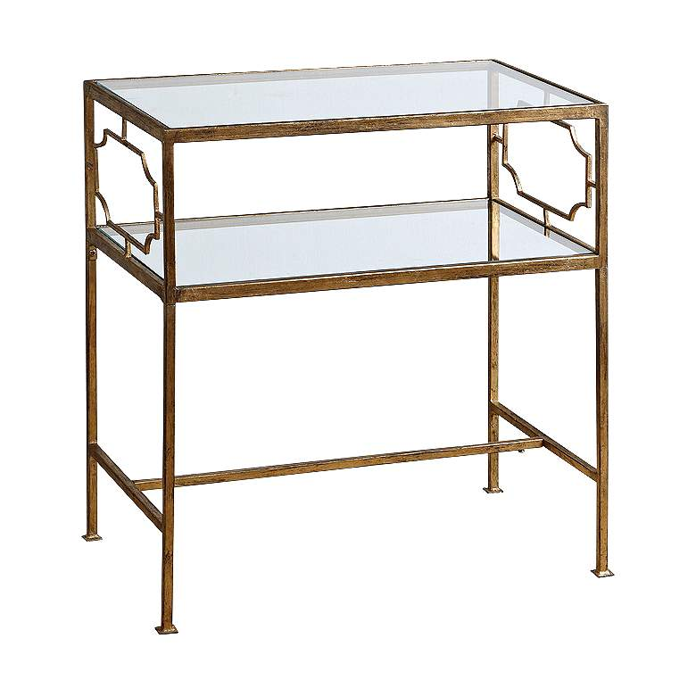 "Genell 23 3/4"" Wide Gold Leafed and Glass Side Table"