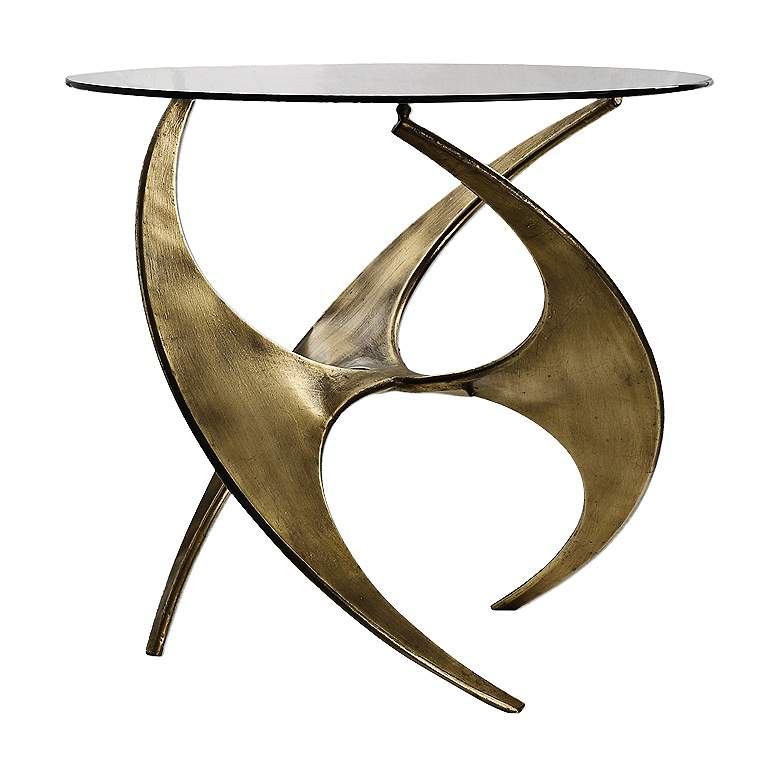 "Graciano 28"" Wide Gold and Round Glass Modern Accent Table"