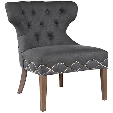 Uttermost Shafira Charcoal Upholstered Armless Accent Chair