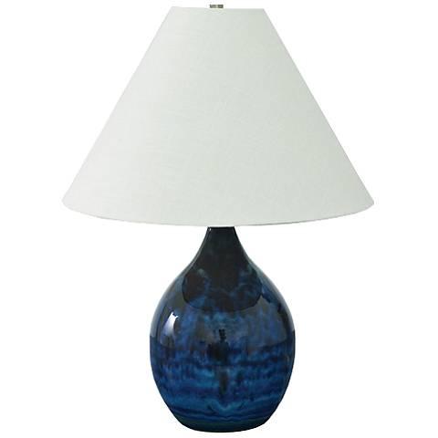 "Scatchard Stoneware 22 1/2"" High Midnight Blue Table Lamp"
