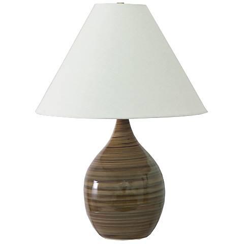 "Scatchard Stoneware 22 1/2"" High Tiger's Eye Table Lamp"
