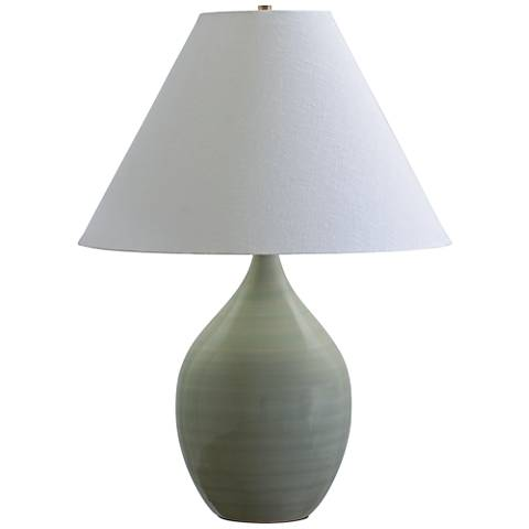"Scatchard Stoneware 28"" High Celadon Green Table Lamp"
