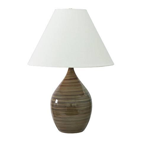 "Scatchard Stoneware 28"" High Tiger's Eye Table Lamp"