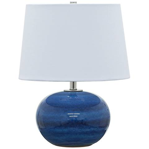 """Scatchard Stoneware 17""""H Round Glossy Blue Accent Table Lamp"""