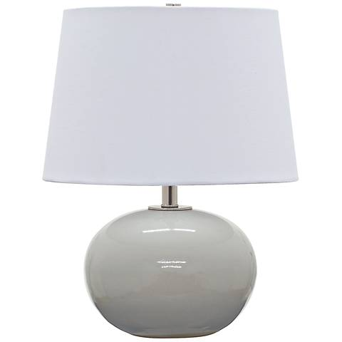 """Scatchard Stoneware 17""""H Round Glossy Gray Accent Table Lamp"""