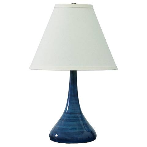 "Scatchard Stoneware 19"" High Slim Glossy Blue Table Lamp"
