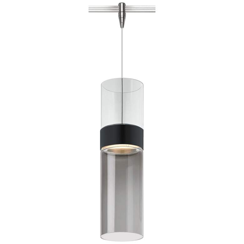 "Manette 3 1/2""W Smoke Glass Nickel LED Monorail Mini Pendant"