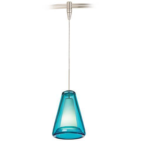 "Billow 5"" Wide Ocean Blue Glass Nickel Monorail Mini Pendant"