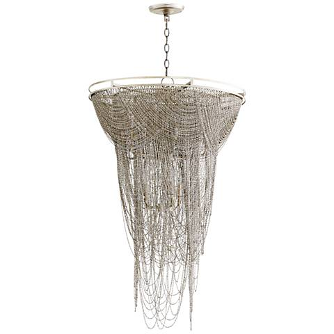 "Ithaca 26""W Hanging Moss Aged Silver Iron Pendant Light"