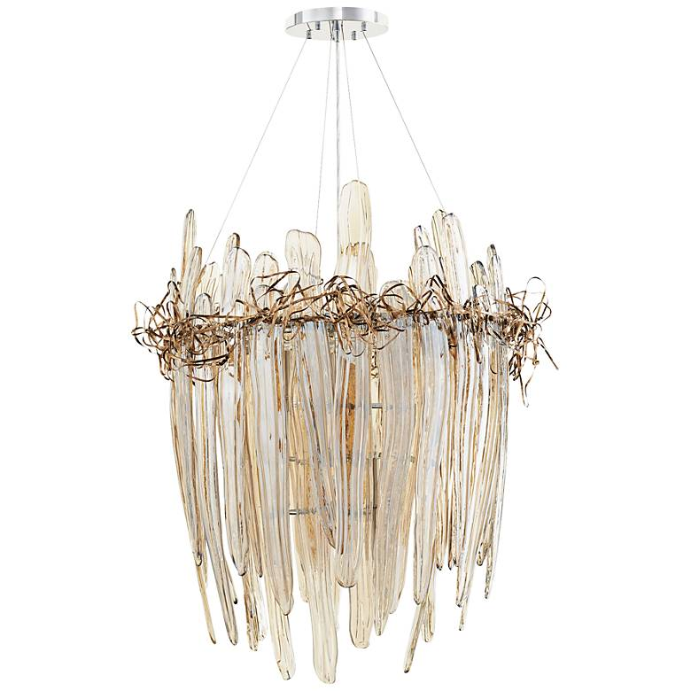 "Thetis 30"" Wide Copper Straw Cognac Glass Chandelier"