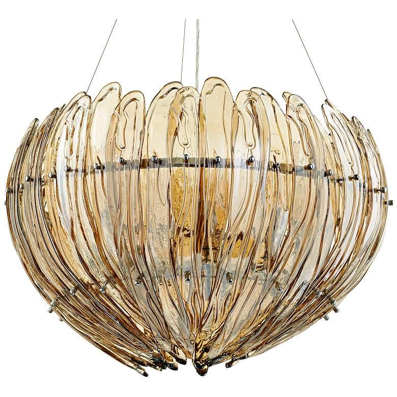 """Aerie 28"""" Wide Large Lotus Cognac Glass Pendant"""