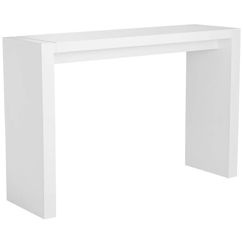 "Velia 60"" Wide High-Gloss White Modern Bar Table"