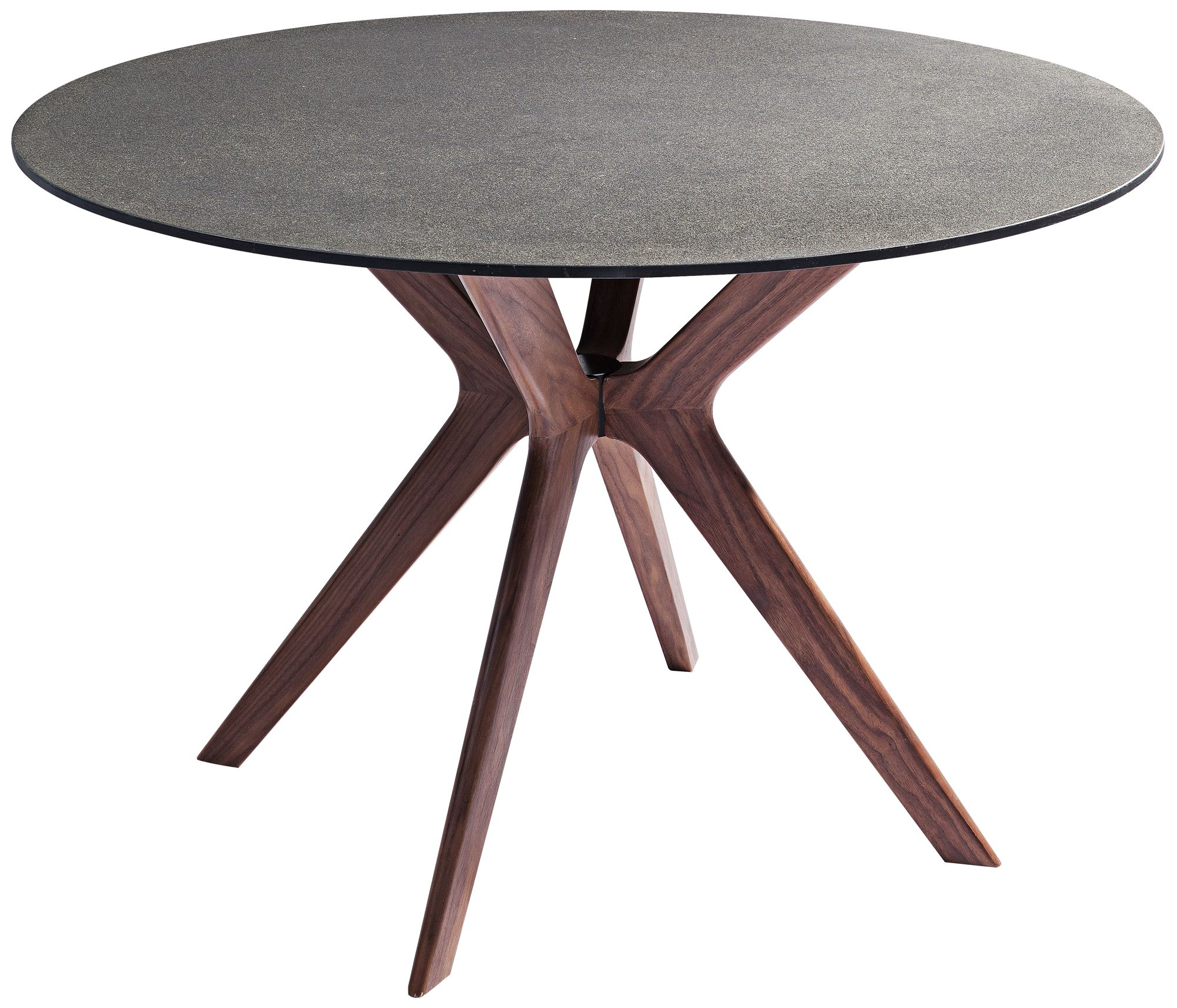 Redondo Round Walnut With Glass And Stone Top Dining Table