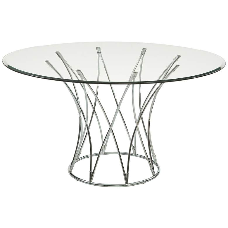 "Mercer 54"" Wide Chrome and Glass Round Modern"