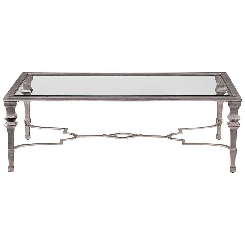 """Sylvia 50"""" Wide Silver Leaf Rectangle Cocktail Table"""