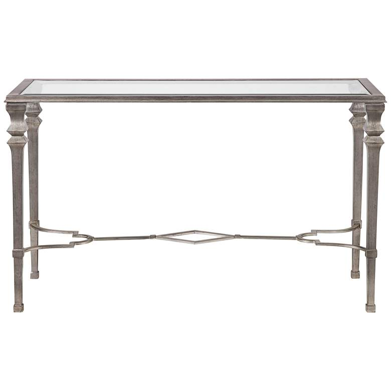 """Sylvia 48"""" Wide Silver Leaf Rectangle Console Table"""