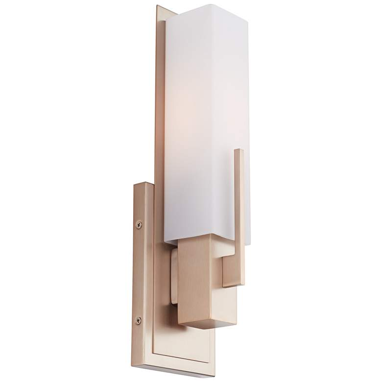 """Midtown 15"""" High White Glass Burnished Brass Wall Sconce"""