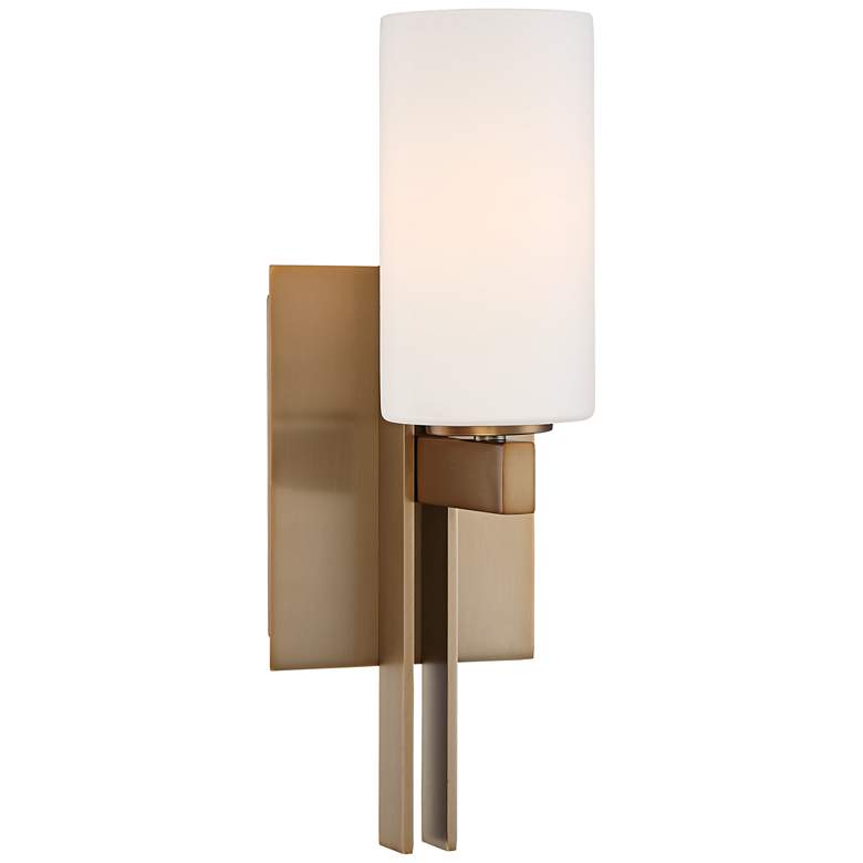 """Possini Euro Ludlow 14"""" High Burnished Brass Wall Sconce"""