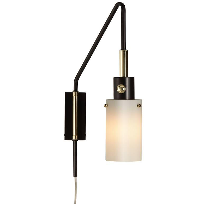Kathy Ireland Chic Mini Black Arc Wall Lamp